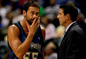 INDIANAPOLIS - OCTOBER 19:  Marko Jaric #55 of the Minnesota Timberwolves confers with head coach Randy Wittman while playing the Indiana Pacers October 19, 2007 at Conseco Fieldhouse in Indianapolis, Indiana.  (Photo by Matthew Stockman/Getty Images)