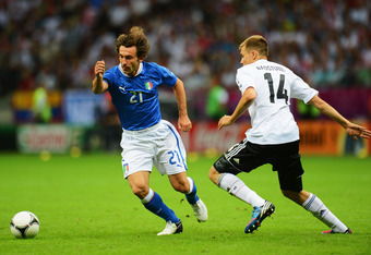Andrea Pirlo's play in midfield didn't allow Germany to dominate.