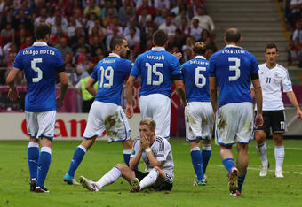 Italy's defense made favorite Germany struggle on Thursday, holding them scoreless until injury time.