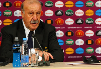 DONETSK, UKRAINE - JUNE 27:  In this handout image provided by UEFA, Head coach Vicente del Bosque of Spain talks to the media after the UEFA EURO 2012 Semi Final match between Portugal and Spain on June 27, 2012 in Donetsk, Ukraine.  (Photo by Handout/UE