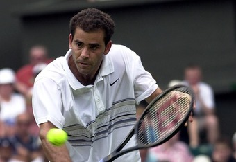 2 Jul 2001:  Pete Sampras of the USA in action against Roger Federer of Switzerland during the men's fourth round of The All England Lawn Tennis Championship at Wimbledon, London.  DIGITAL IMAGE Mandatory Credit: Clive Brunskill/ALLSPORT