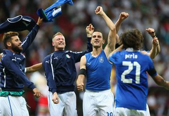 WARSAW, POLAND - JUNE 28:  (L-R) Antonio Nocerino, Emanuele Giaccherini, Leonardo Bonucci and Andrea Pirlo of Italy celebrate victory after the UEFA EURO 2012 semi final match between Germany and Italy at the National Stadium on June 28, 2012 in Warsaw, P
