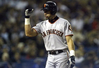 LOS ANGELES - JUNE 19:  Benito Santiago #33 of the San Francisco Giants celebrates after hitting a home run against the Los Angeles Dodgers on June 19, 2003 at Dodger Stadium in Los Angeles, California.   (Photo by Stephen Dunn/Getty Images)