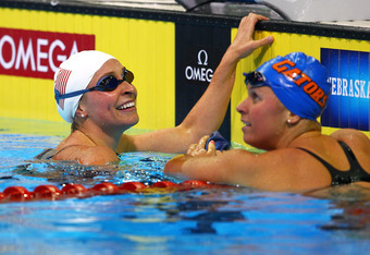 OMAHA, NE - JUNE 27:  Ariana Kukors and Elizabth Beisel look on after she competed in preliminary heat 13 of the Women's 200 m during Day Three of the 2012 U.S. Olympic Swimming Team Trials at CenturyLink Center on June 27, 2012 in Omaha, Nebraska.  (Phot