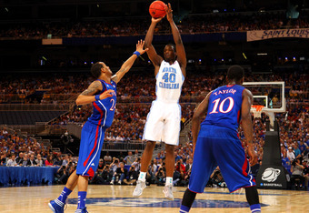 ST LOUIS, MO - MARCH 25:  Harrison Barnes #40 of the North Carolina Tar Heels attempts a shot against the Kansas Jayhawks during the 2012 NCAA Men's Basketball Midwest Regional Final at Edward Jones Dome on March 25, 2012 in St Louis, Missouri.  (Photo by
