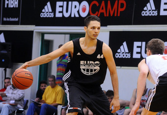 TREVISO, ITALY - JUNE 11:  Evan Fournier in action during the adidas Eurocamp 2012 at La Ghirada sports center on June 11, 2012 in Treviso, Italy.  (Photo by Roberto Serra/Iguana Press/Getty Images)