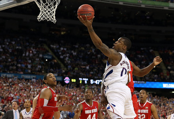 NEW ORLEANS, LA - MARCH 31:  Thomas Robinson #0 of the Kansas Jayhawks goes up for a layup in the second half against the Ohio State Buckeyes during the National Semifinal game of the 2012 NCAA Division I Men's Basketball Championship at the Mercedes-Benz