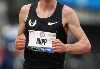 EUGENE, OR - JUNE 22:  Galen Rupp smiles after winning the men's 10,000 meter final during Day One of the 2012 U.S. Olympic Track & Field Team Trials at Hayward Field on June 22, 2012 in Eugene, Oregon.  (Photo by Christian Petersen/Getty Images)