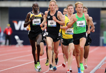 EUGENE, OR - JUNE 25:  Robert Cheseret, Galen Rupp and Scott Bauhs compete in men's 5000 meter run during Day Four of the 2012 U.S. Olympic Track & Field Team Trials at Hayward Field on June 25, 2012 in Eugene, Oregon.  (Photo by Andy Lyons/Getty Images)