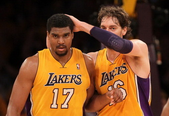 LOS ANGELES, CA - MAY 19:  Andrew Bynum #17 and Pau Gasol #16 of the Los Angeles Lakers celebrate a play in the second quarter while taking on the Oklahoma City Thunder in Game Four of the Western Conference Semifinals in the 2012 NBA Playoffs on May 19 a