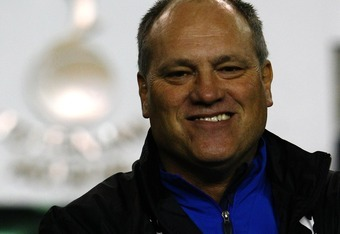 LONDON - OCTOBER 25:  Martin Jol, manager of Tottenham smiles prior to the Uefa Cup Second Round Group G match between Tottenham Hotspur and Getafe at White Hart Lane on October 25, 2007 in London, England.  (Photo by Clive Rose/Getty Images)