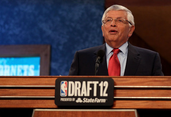 NEWARK, NJ - JUNE 28:  NBA Commissioner David Stern speaks during the first round of the 2012 NBA Draft at Prudential Center on June 28, 2012 in Newark, New Jersey. NOTE TO USER: User expressly acknowledges and agrees that, by downloading and/or using thi