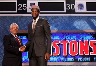 NEWARK, NJ - JUNE 28: Andre Drummond (R) of the Connecticut Huskies greets NBA Commissioner David Stern (L) after he was selected number nine overall by the Detroit Pistons during the first round of the 2012 NBA Draft at Prudential Center on June 28, 2012