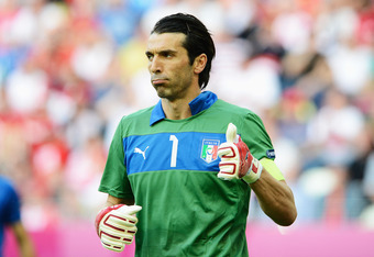 GDANSK, POLAND - JUNE 10:  Gianluigi Buffon of Italy gestures during the UEFA EURO 2012 group C match between Spain and Italy at The Municipal Stadium on June 10, 2012 in Gdansk, Poland.  (Photo by Claudio Villa/Getty Images)