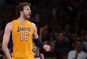 LOS ANGELES, CA - MAY 12:  Pau Gasol #16 of the Los Angeles Lakers reacts in the fourth quarter while taking on the Denver Nuggets in Game Seven of the Western Conference Quarterfinals in the 2012 NBA Playoffs on May 12, 2012 at Staples Center in Los Ange