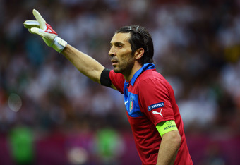 WARSAW, POLAND - JUNE 28: Gianluigi Buffon of Italy during the UEFA EURO 2012 semi final match between Germany and Italy at the National Stadium on June 28, 2012 in Warsaw, Poland.  (Photo by Shaun Botterill/Getty Images)