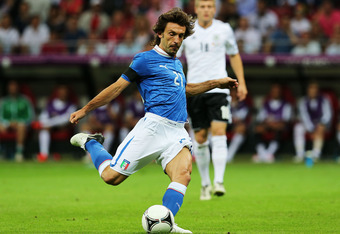 WARSAW, POLAND - JUNE 28:  Andrea Pirlo of Italy during the UEFA EURO 2012 semi final match between Germany and Italy at National Stadium on June 28, 2012 in Warsaw, Poland.  (Photo by Alex Grimm/Getty Images)
