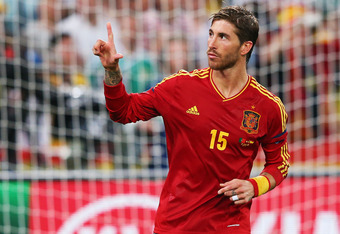 DONETSK, UKRAINE - JUNE 27:  Sergio Ramos of Spain celebrates during the penalty shoot out during the UEFA EURO 2012 semi final match between Portugal and Spain at Donbass Arena on June 27, 2012 in Donetsk, Ukraine.  (Photo by Alex Livesey/Getty Images)