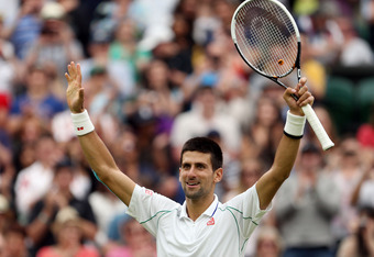 LONDON, ENGLAND - JUNE 29:  Novak Djokovic of Serbia celebrates match point during his Gentlemen's Singles third round match against Radek Stepanek of Czech Republic on day five of the Wimbledon Lawn Tennis Championships at the All England Lawn Tennis and