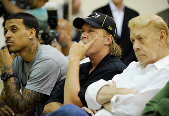 Jim Buss (center) took a stand on Gasol's future some time ago, but appears to have gone against that this week