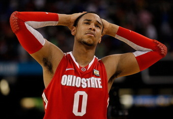 NEW ORLEANS, LA - MARCH 31:  Jared Sullinger #0 of the Ohio State Buckeyes reacts after the Buckeyes lose to the Kansas Jayhawks 64-62 during the National Semifinal game of the 2012 NCAA Division I Men's Basketball Championship at the Mercedes-Benz Superd
