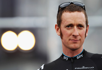 LIEGE, BELGIUM - JUNE 28:  Bradley Wiggins of Great Britain and SKY Procycling attends the Team Presentation ahead of the 2012 Tour de France at Place Saint-Lambert on June 28, 2012 in Liege, Belgium.  (Photo by Bryn Lennon/Getty Images).  The 99th Tour d