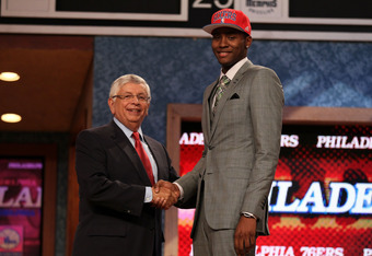 NEWARK, NJ - JUNE 28:  Moe Harkless (R) of St. John's Red Storm greets NBA Commissioner David Stern (L) after he was selected number fifteen overall by the Philadelphia 76ers during the first round of the 2012 NBA Draft at Prudential Center on June 28, 20