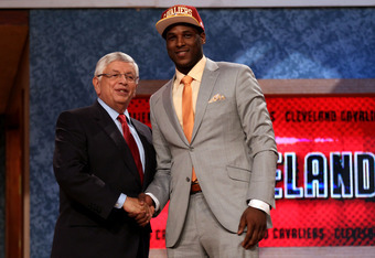 NEWARK, NJ - JUNE 28:  Dion Waiters of Syracuse greets NBA Commissioner David Stern (L) after he was selected number four overall by the the Cleveland Cavaliers during the first round of the 2012 NBA Draft at Prudential Center on June 28, 2012 in Newark,