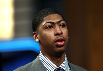NEWARK, NJ - JUNE 28:  Anthony Davis of the Kentucky Wildcats looks on after he was selected number one overall by the New Orleans Hornets during the first round of the 2012 NBA Draft at Prudential Center on June 28, 2012 in Newark, New Jersey. NOTE TO US