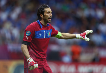 WARSAW, POLAND - JUNE 28:  Gianluigi Buffon of Italy during the UEFA EURO 2012 semi final match between Germany and Italy at the National Stadium on June 28, 2012 in Warsaw, Poland.  (Photo by Michael Steele/Getty Images)