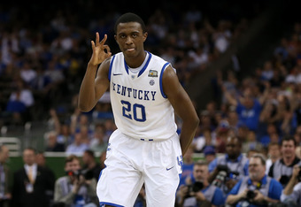 NEW ORLEANS, LA - APRIL 02:  Doron Lamb #20 of the Kentucky Wildcats reacts after making a three-pointer in the first half against the Kansas Jayhawks in the National Championship Game of the 2012 NCAA Division I Men's Basketball Tournament at the Mercede
