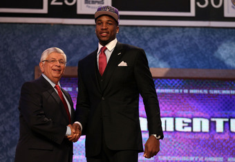 NEWARK, NJ - JUNE 28:  Thomas Robinson (R) of the Kansas Jayhawks greets NBA Commissioner David Stern (L) after he was selected number five overall by the Sacramento Kings during the first round of the 2012 NBA Draft at Prudential Center on June 28, 2012