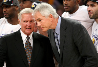 LOS ANGELES, CA - MAY 29:  Los Angeles Lakers legend Jerry West and General Manager Mitch Kupchak of the Los Angeles Lakers talk together after the Lakers defeated the San Antonio Spurs in Game Five of the Western Conference Finals during the 2008 NBA Pla