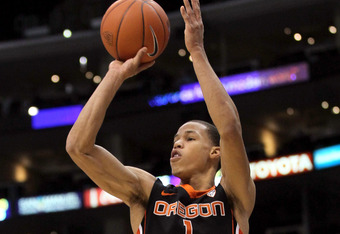LOS ANGELES, CA - MARCH 08:  Jared Cunningham #1 of the Oregon State Beavers shoots the ball in the first half while taking on the Washington Huskies during the quarterfinals of the 2012 Pacific Life Pac-12 basketball tournament at Staples Center on March