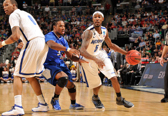 COLUMBUS, OH - MARCH 16:  Will Barton #5 of the Memphis Tigers dribbles the ball against the Saint Louis Billikens during the second round of the NCAA Basketball Tournament on March 16, 2012 at Nationwide Arena in Columbus, Ohio.  (Photo by Jamie Sabau/Ge
