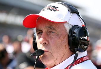 INDIANAPOLIS, IN - MAY 19:  Roger Penske the owner of the #2 IZOD Team  Penske car watches car speeds during qualifying for the Indianapolis 500 at Indianapolis Motor Speedway on May 19, 2012 in Indianapolis, Indiana.  (Photo by Andy Lyons/Getty Images)