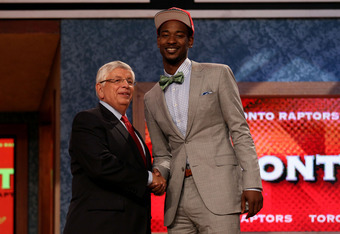 NEWARK, NJ - JUNE 28:  Terrence Ross (R) of the Washington Huskies greets NBA Commissioner David Stern (L) after he was selected number eight overall by the Toronto Raptors during the first round of the 2012 NBA Draft at Prudential Center on June 28, 2012