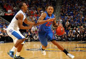 NEW ORLEANS, LA - MARCH 10:  Bradley Beal #23 of the Florida Gators drives against Marquis Teague #25 of the Kentucky Wildcats in the second half during the semifinals of the SEC Men's Basketball Tournament at New Orleans Arena on March 10, 2012 in New Or