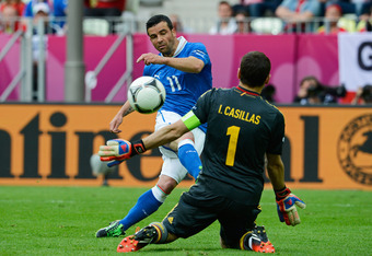 GDANSK, POLAND - JUNE 10:  Antonio Di Natale of Italy scores their first goal past Iker Casillas of Spain during the UEFA EURO 2012 group C match between Spain and Italy at The Municipal Stadium on June 10, 2012 in Gdansk, Poland.  (Photo by Claudio Villa