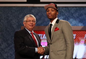 NEWARK, NJ - JUNE 28:  Damian Lillard (R) of Weber State greets NBA Commissioner David Stern (L) after he was selected number six overall by the Portland Trail Blazers during the first round of the 2012 NBA Draft at Prudential Center on June 28, 2012 in N