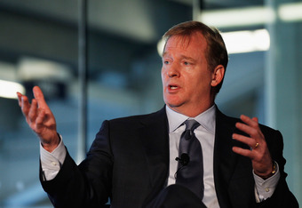 NEW YORK, NY - SEPTEMBER 27:  NFL Commissioner Roger Goodell speaks to attendees during 'Sports Teams for Social Change,' hosted by Beyond Sport United on September 27, 2011 at Yankee Stadium in the Bronx borough of New York City.  (Photo by Mike Stobe/Ge
