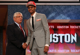 NEWARK, NJ - JUNE 28:  Jeremy Lamb (R) of the Connecticut Huskies greets NBA Commissioner David Stern (L) after he was selected number twelve overall by the Houston Rockets during the first round of the 2012 NBA Draft at Prudential Center on June 28, 2012