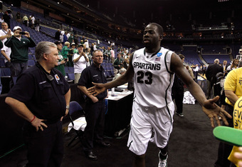 COLUMBUS, OH - MARCH 18: Draymond Green #23 of the Michigan State Spartans high fives the crowd as he runs off the court after defeating the St. Louis Billikens during the third round of the 2012 NCAA Men's basketball tournament at Nationwide Arena on Mar