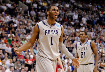 COLUMBUS, OH - MARCH 18:  Hollis Thompson #1 of the Georgetown Hoyas reacts after a teammate was called for a foul in the second half against North Carolina State Wolfpack during the third round of the 2012 NCAA Men's basketball tournament at Nationwide A