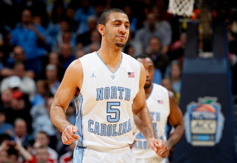 ATLANTA, GA - MARCH 10:  Kendall Marshall #5 of the North Carolina Tar Heels reacts after a basket against the North Carolina State Wolfpack during the semifinals of the 2012 ACC Men's Basketball Conference Tournament at Philips Arena on March 10, 2012 in