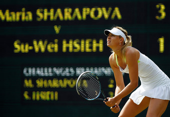 LONDON, ENGLAND - JUNE 29:  Maria Sharapova of Russia in action during her Ladies' singles third round match against Su-Wei Hsieh of Taipei on day five of the Wimbledon Lawn Tennis Championships at the All England Lawn Tennis and Croquet Club on June 29,