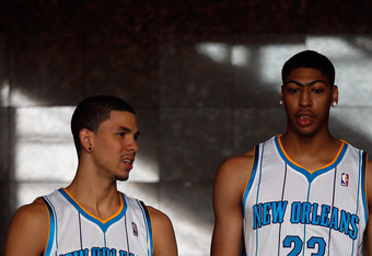 NEW ORLEANS, LA - JUNE 29:  Austin Rivers #25 and Anthony Davis #23 of the New Orleans Hornets talk with the media at the New Orleans Arena on June 29, 2012 in New Orleans, Louisiana.  Davis was the first overall pick, and Rivers the 10th overall pick in