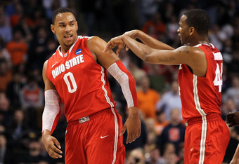 BOSTON, MA - MARCH 24:  Jared Sullinger #0 and William Buford #44 of the Ohio State Buckeyes of the Ohio State Buckeyes react after a play against the Syracuse Orange during the 2012 NCAA Men's Basketball East Regional Final at TD Garden on March 24, 2012
