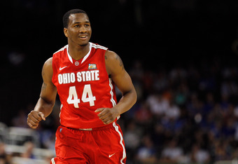 NEW ORLEANS, LA - MARCH 31:  William Buford #44 of the Ohio State Buckeyes reacts in the first half while taking on the Kansas Jayhawks during the National Semifinal game of the 2012 NCAA Division I Men's Basketball Championship at the Mercedes-Benz Super