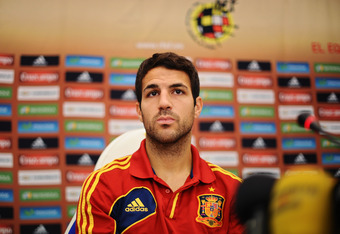 KIEV, UKRAINE - JUNE 29:  Cesc Fabregas of Spain listens to questions from the media during a press conference ahead of the UEFA EURO 2012 final match against Italy on June 29, 2012 in Kiev, Ukraine.  (Photo by Jasper Juinen/Getty Images)